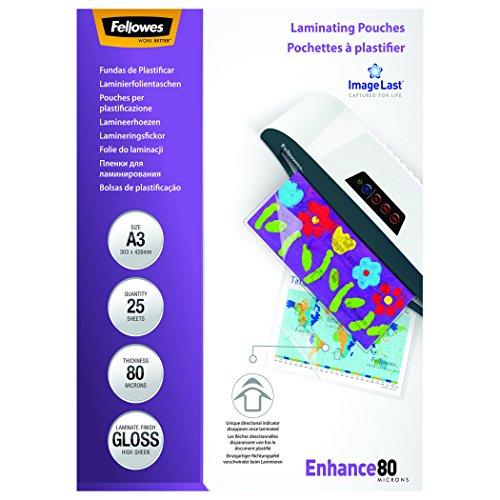 Fellowes 5396403 Pouches Lucide Enhance80,Formato A3, 80 Micron, Confezione da 25 Pezzi