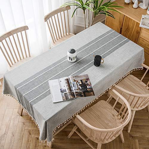 Soledi tovaglia rettangolare in cotone e lino con frange ricamo tridimensionale resiste all'umidità adatto per tavola quadrata tavola rotonda tavolino lavabile 140x180cm