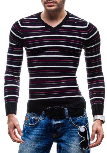 X&J Herrenpullover Pulli Sweatshirt Strick Sweatjacke Strickjacke Sweater Top J 507V Schwarz