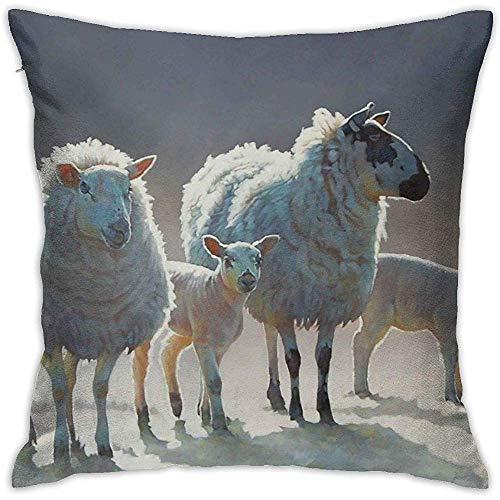 DayToy Dekokissenbezug Schaf im Winterbett Sofakissenbezug Schlafkissen Weiches Kissen 2er Pack