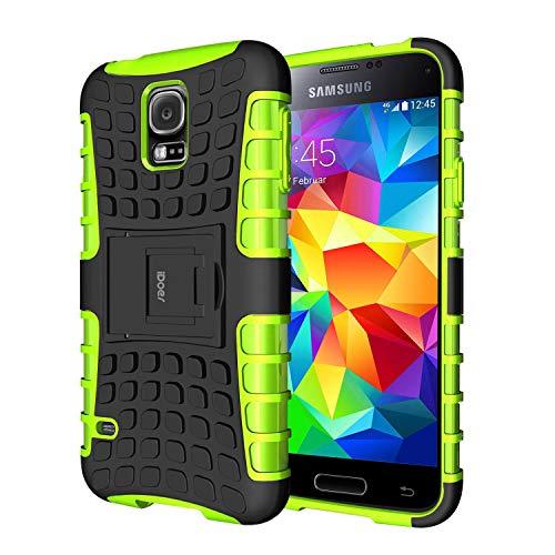 Coque Samsung S5 Armor Support Protection Étui Samsung Galaxy S5 Case Housse Etui Bumper Antichoc Cas Incassable Coque pour Galaxy S5 (vert)