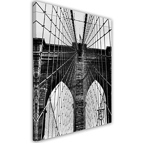 Feeby Frames, Tableau Déco, Impression sur toile, Décoration murale, Image imprimée, 50x70 cm, ARCHITECTURE, VILLE DE PONT DE BROOKLYN, NEW YORK, NOIR ET BLANC