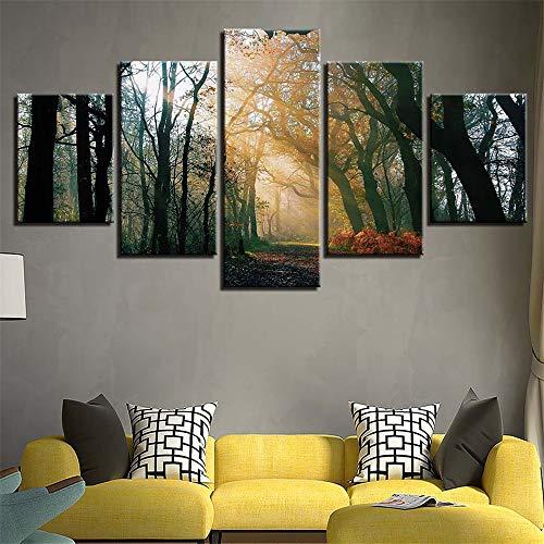 BBQBQ Pittura Decorativa,Foresta di Nebbia Creativa 5 Incantesimo Pittura a Getto d'inchiostro casa Camera da Letto Camera Pittura murale Pittura 16 Nucleo di Pittura 30x40cmx2 30x60cmx2 30x80cmx1