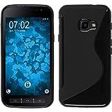 PhoneNatic Case kompatibel mit Samsung Galaxy Xcover 4 - schwarz Silikon Hülle S-Style + 2 Schutzfolien