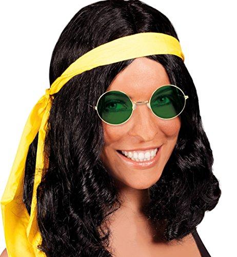 ISEX PERÜCKE - HIPPIE - schwarz mit Stirnband (Schwarz Unisex Hippie Perücke Für Erwachsene)