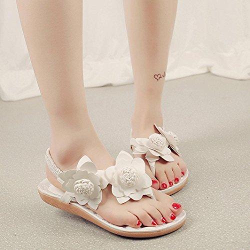 Saingace Frauen Bohemia Freizeit Sandalen mit Blume Flip Flops flache Schuhe Weiß