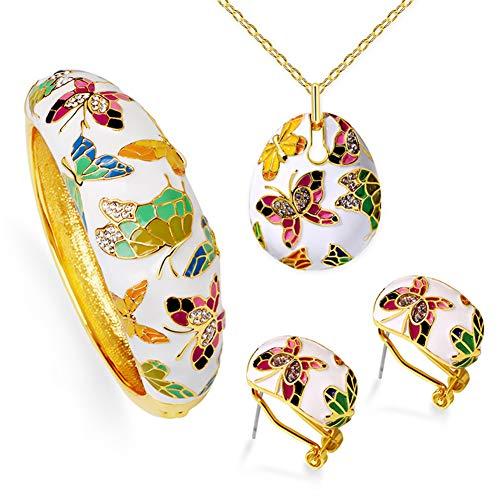DEQIAODE Damen Schmuck Set Halskette Ohrringe Versailles Frühling Handgemachte Emaille Schmetterling Vergoldet -