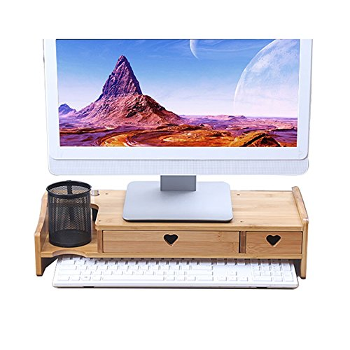 Regale LCD-Computer-Monitor hinzugefügt Regalboden Desktop-Speicher Regal, Bambus Schublade Schreibtisch Top Computer-Support-Gruppe, Größe 50 * 20 * 11,5 cm - Lagerregal (größe : 2 drawers) -