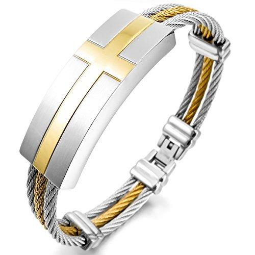 Inblue Herren Armband Edelstahl Armreif Manschette Gold Silber Zwei Ton Kabel ()