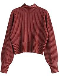 ZAFUL Damen Locker Rollkragenpullover Langarm Sweater Pulli Lose Bluse Pullover Tops