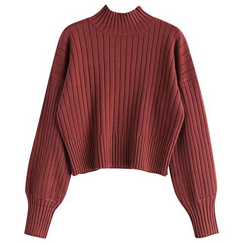ZAFUL Damen Locker Rollkragenpullover Langarm Sweater Pulli Lose Bluse Pullover Tops(Kirschrot)