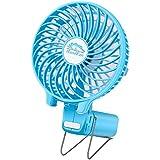 Ventilador de Mano Plegable VersionTech Ventilador USB Clip Portátil de 3 Velocidad con Batería Recargable Mini Hand Fan Para Ejercicio al aire libre Viaje (Azul)