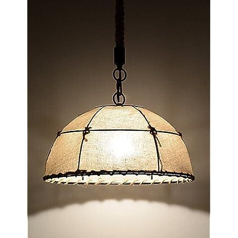 Mezza RoundShaped/1/luci di lampade pendenti/vintage stile industria/Stile/giallo/panno caduta di metalli bianchi luce 110V-240V - Caduta Pendenti Una Luce