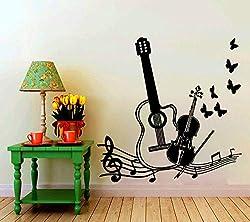 Heißer Verkauf Musikinstrumente Mit Vögeln Schmetterlinge Silhouette Kunst Wandtattoo Home Modern Style Fashion Decor Aufkleber58 * 58 cm