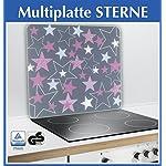 Wenko 2712987500Multi Ender Stelle per Piani Cottura in Vetro-Ceramica, Tagliere, Vetro temprato, Rosa, 56x 50x 0,5cm