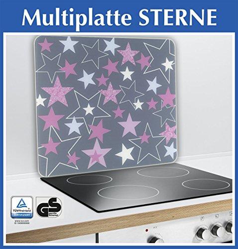 Wenko 2712987500 Multi-Platte Sterne für Glaskeramik Kochfelder, Schneidbrett, Gehärtetes Glas, rosa, 56 x 50 x 0,5 cm