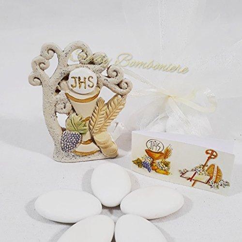 Bomboniera prima comunione da appoggio calice ostia jhs uva (bomboniera + sacchetto in tulle con confetti e bigliettino)