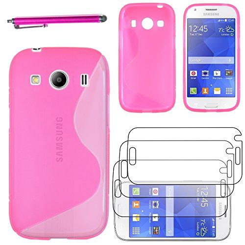 ebestStar - Compatibile Cover Samsung Ace 4 Galaxy SM-G357FZ Custodia Protezione S-Line Design Silicone Morbida e Sottile + Penna +3 Pellicole plastica, Rosa [Apparecchio: 121.4 x 62.9 x 10.8mm 4.0']