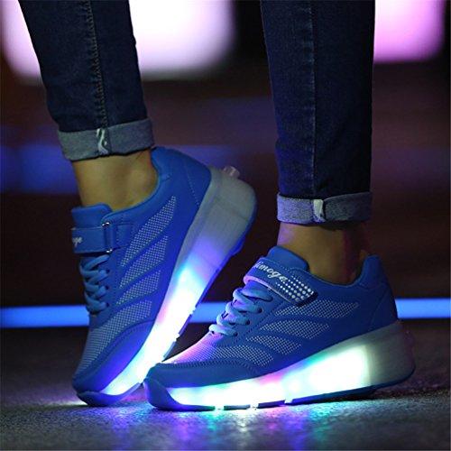 LILY999 Räder Schuhe Skateboard Turnschuhe Jungen und Mädchen Wanderschuhe Rollschuh Schuhe mit LED-Licht Sportschuhe Blau