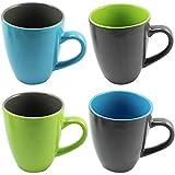 COM-FOUR® 4x Kaffeebecher verschiedene Farben, 350ml, Porzellan, Kaffeetasse, Kaffeepott, grün-grau, grau-grün, blau-grau, grau-blau (4erMix1)