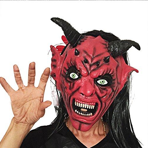 Yxsd Halloween Langes Haar Rotes Gesicht Horn Maske Karneval Bar Scary Devil Scary Set Rotes Gesicht Schwarze Maske