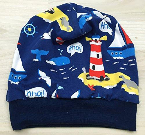 Beanie Mütze Meer dunkelblau für Kopfumfang 48-53 cm
