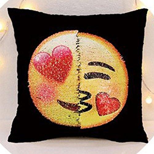 Ikat Kissen-abdeckung (zantec Liebenswürdig, Emoji-Cartoon Kissen Fall Lovely Pailletten Home Sofa Plüsch Kissenbezüge Auto wieder Kissen Dekoration, 2#, 40 * 40cm)