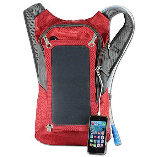 LUGLQA Wasserbeutel Solar Aufladen Rucksack Mode SelbstPowered Rucksack Outdoor Freizeit Ladetasche, Rot