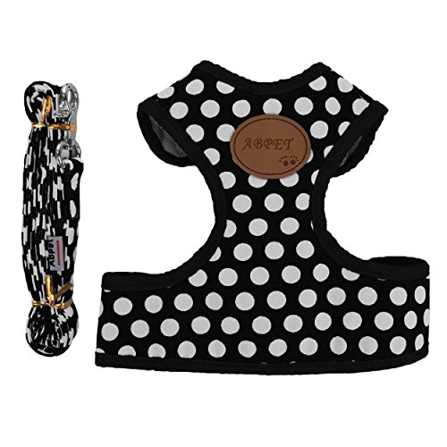 CueCue-Pet-Non-Pull-Soft-Padded-Dog-Cat-Chest-Safety-Harness-Black-Polka-Dot