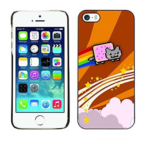 TopCaseStore / caoutchouc Hard Case Housse de protection la Peau - Cat Flying Rainbow Computer Game Music Art - Apple iPhone 5 / 5S