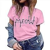 iHENGH T Shirt Femme, Tops Imprimer Mignon Eté à Manches Courtes T-Shirts Chemisier