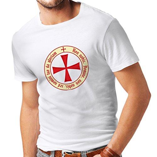Männer T-Shirt Tempelritter Templer Orden T-Shirt (Knights Templar) für Herren mit Tatzenkreuz Ordo Red (Large Weiß (Erwachsene Van Helsing Kostüm)