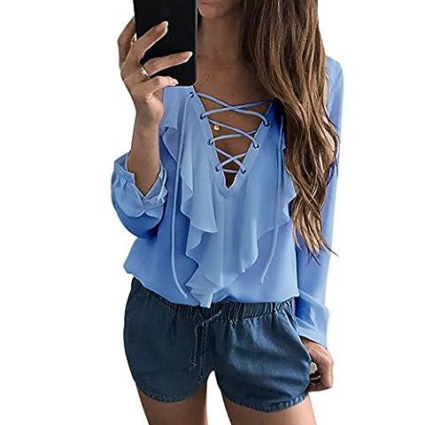 Femmes Chemisier Casual épaule Chemise Dames Sexy Blouse Bande Longue T-shirt Tops à manches Longues Col V Chic Shirt (M, Bleu)