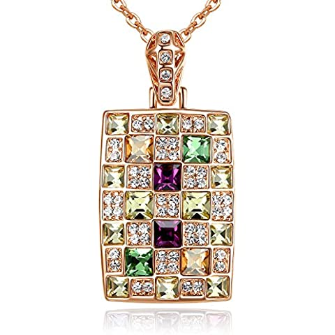 GoSparking Multi -Coloured collana di cristallo del pendente 18K Rosa placcato oro della lega con il cristallo austriaco per le donne