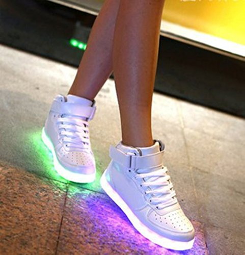 Weiß Handtuch kleines Farbe Aufladen Leuchtend 7 Laufschuhe Led present Usb Schuhe Mode Fü Sneaker licht Outdoorschuhe Sportschuhe Freizeitschuhe junglest® Wechseln 5qgxdW0Hn