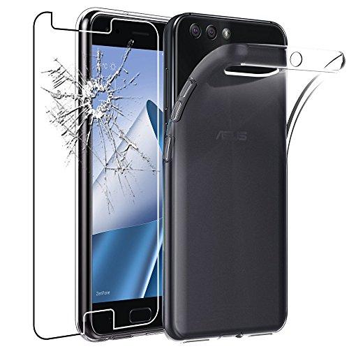 ebestStar - Asus Zenfone 4 Hülle ZE554KL Handyhülle [Ultra Dünn], Durchsichtige Klar Flex Silikon Schutzhülle, Transparent + Panzerglas Schutzfolie [Phone: 155.4 x 75.2 x 7.7mm, 5.5'']