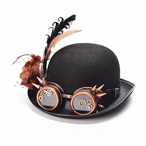BLESSUME Jahrgang Steampunk Hut Gefieder Gang Brille Gotik Hut viktorianisch (Hüte Steampunk Männer)