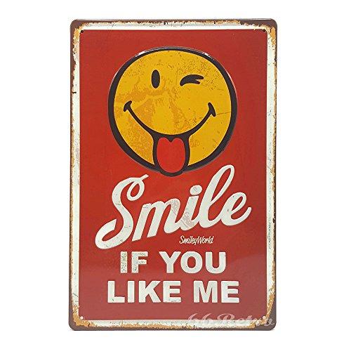 Smile If You Like Me, Retro geprägt Metall blechschild, Wand Deko Schild, 20cm x 30cm (Tigers Lsu Mädchen)
