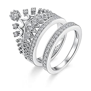 S.A.V.I Silver Plated Luxury Crown Ring Set