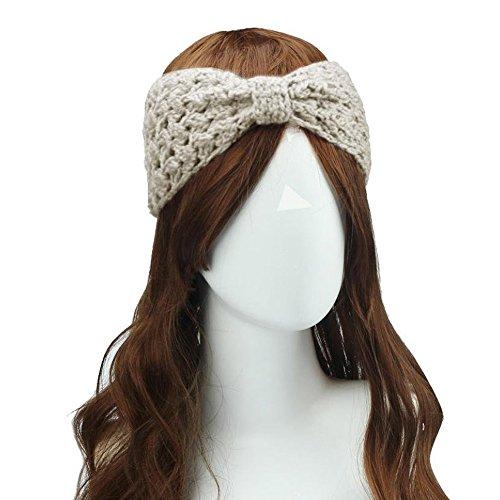 Butterme Mode Elastique Évider Crochet bandeau Cheveux Laine Tricoté Bande de Cheveux Twist Bandeau Accessoires cheveux pour femme filles beige