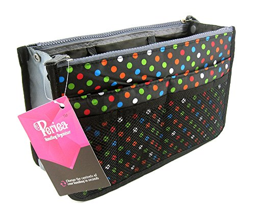 Periea - Organiseur de sac à main, 12 Compartiments - Chelsy (Noir/Multicolore, Moyen: H17.5 x L28 x P2-16cm)