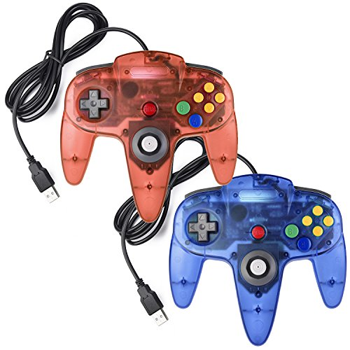 iNNEXT 2x USB N64 64 Controller Plug & Play Joystick Gamepad N64 PC-Controller Für Windows PC MAC Raspberry Pi3 Retro Pie (Blau/Rot)