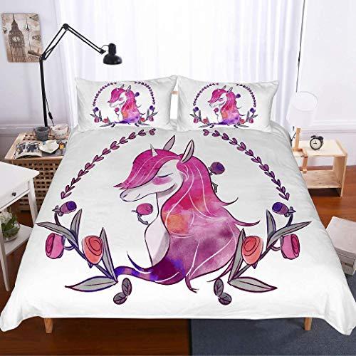 Soefipok Cartoon Unicorn Bettwäscheset 3-TLG. (1 Bettwäscheset 2 Kissenbezüge) für Kinder, weißes Einhorn mit rosa Haaren Lila geblümt Bettwäsche-Set für Mädchen, Kinder und Kleinkinder