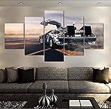 Canvas Toile Murale de Salon 5 pièces Retour vers Le Futur Poster de Voiture Peinture Impression HD Images Décoration d'intérieur Modulaire avec Cadre, 10×15×2+10×20×2+10×25×1