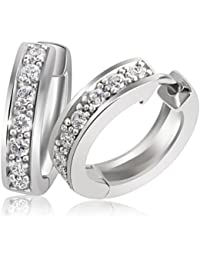 Goldmaid Ladies'Creole Earrings 925 Sterling Silver Gold-Plated with 2 Brilliant-Cut Diamond 0,03 Carat - 45 CM