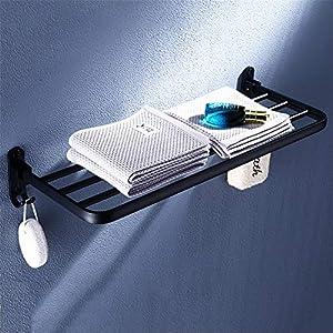 ZLDM Espacio de Aluminio Negro Barra toallero Plegable Montaje en Pared Toallero Sin Taladro Prueba de Herrumbre…