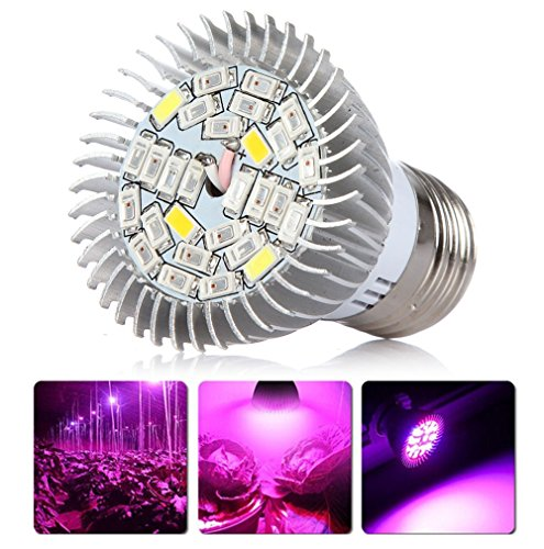 JADIDIS LED Wachsen Glühlampe Vollspektrum Pflanzenlampe 28W E27 für Gewächshaus Garten Hydroponik Zimmerpflanzen Wachstum Blumen Blüte Energiesparen