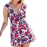 Honestyi Damen Plus Size Gepolsterte Badebekleidung Push Up Bikini Set Badeanzug Badeanzug Damen Large Size Print Zweiteiliger Bikini(Weiß,XXL)