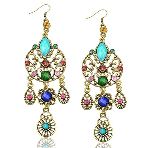 SUMAJU Long Crystal CZ Teardrop Vintage Copper Eardrop Hook Multicolor Dangle Earrings