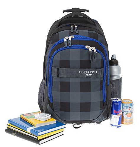 2 Teile MAXI SET: ELEPHANT Trolley HERO SIGNATURE Trolleyrucksack + Sporttasche GYM MATE XL (Plaid Blue - Schwarz BLAU) Plaid Blue (Schwarz BLAU)